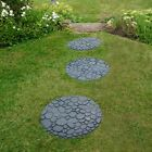 Large Stepping Stone Garden Pathway Recycled Rubber Reversible River Rock Grey