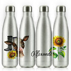 Personalised Water Bottle, Silver Glitter Stainless Steel Flask with Name, 500ml