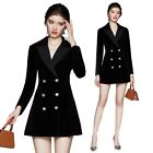 Women's Black Velvet Suit Jacket Dress Ladies OL Business Party Formal Blazer L