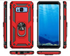 Galaxy Note 8 / S8 Plus Case Dual Layer TPU Flexible Ring Kickstand Red Defense