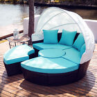 5pc Patio Furniture Set Wicker Daybed 4 Chairs Round Table Pillows & Cover