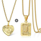 18 inch Couple Initial Pendant Necklace Letter A-Z Yellow Gold Plated