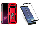 Samsung Galaxy Note 8 Case Red Kickstand Dual Layer Cover Glass Screen Protector