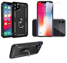 IPhone 11Pro Case Dual Layer Armor Hybrid Kickstand 4D Glass Screen Protector