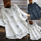 Women Linen Cotton Vintage Floral Embroidery Tops Shirt Loose T-Shirt Blouse Tee