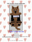 Norwich Terrier Dog Magnetic Note Holder- Plastic Canvas Pattern or Kit