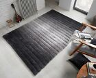 VERGE OMBRE HAND CARVED STRIPED SOFT THICK SHAGGY RUG IN GREY BLACK