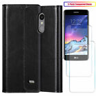 For LG K8 2017/ 2018/Phoenix 3/Fortune Leather Flip Case Cover W Tempered Glass