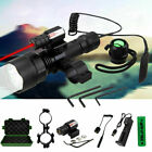 Hunting LED Flashlight Combo Red Laser Sight Scope Mount For 11/20mm Rail Rifle