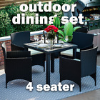 Rattan Garden Furniture Dining Set 4 Seater Table Chairs Outdoor Patio 5 Piece
