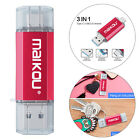 128GB USB Flash Drive Type-C Micro USB Memory Stick for Phone PC Premium Red picture