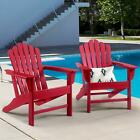 2 Pieces Adirondack Chair Outdoor Furniture Weatherproof Seat Fade-resistant NEW