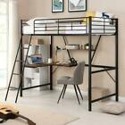 Sturdy Metal Loft Bed with L-shaped Desk and Shelf for Dorm Home Bedroom US