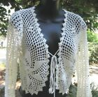 HANDCROCHETED W/PEARLS CARDIGAN SHRUG TOP SMALL SIZE