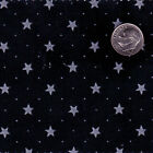 "POLYCOTTON CLOTHES DRESS SHIRT BEDDING FABRIC 5mm STAR NAVY RED BLACK WHITE 44""W"