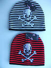 MENS YOUTHS BLACK BEANIE HAT WITH RED OR WHITE SKULL
