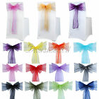 25PCS Organza Sheer Chair Sashes Wedding Party Cover Banquet Bows Colours Deco