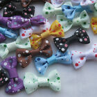 E149 U pick 80 pcs satin ribbon bows flowers for Appliques Crafts more colors