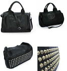 Celebrity Stud Studs Studded Bottom Black Duffel Leather Tote Bag Handbag NEW U2