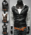 New Mens Stylish Slim Fit PU Leather Jackets Sweater hoodies Coats 3 Color A411