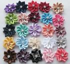 40pcs U pick satin ribbon flowers bows with Appliques Craft DIY Wedding E123