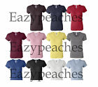 Bella Ladies NEW Size S-2XL 1×1 Rib Short Sleeve V-Neck T-Shirt Womens Tee Top