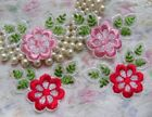 "6 Pcs Pink / Red Flowers Embroidery Lace Appliques-2-7/8""(W)-Color Choice-E007"