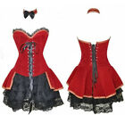 New Sexy Red Velvet Boned Lace Up Corset Basque Top/Skirt Costume Set--3013