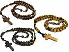 Wooden Rosary Style Square Bead Necklace
