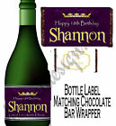 PERSONALISED BIRTHDAY BOTTLE LABEL & MATCHING CHOC BAR WRAPPER GREAT GIFT BDBL 6