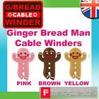 GINGERBREAD MAN IPHONE IPOD EARPHONE CABLE WINDER 3 COLOURS HEADPHONE CORD TIDY