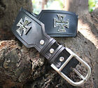 Genuine Leather Handmade Medieval Style Belt with Pewter Crosses, Metal Buckle