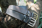 Handmade Standard Leather Belt in Black or Brown with Metal Buckle