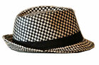 New Men Women Trilby Fedora Bucket Hat Cap Small Square Paper Straw Size M/L