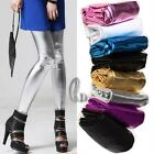 SZ S-M/AU6-10 Shiny Leather Look Leggings Stretch pants multiple colour p110