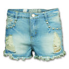 Ladies Hot Pants Womens Shorts Ripped Look Denim Studs Fashion Frayed Summer