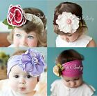 LOVELY UNUSUAL COTTON GIRLS BABY ROSE AND FLOWER HEADBAND HAIRBAND BOW
