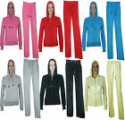 Womens Ladies Hooded Velour Full Tracksuit Hoodie Bottom Trouser Size 8 10 12 14