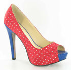 LADIES RED/BLUE AND WHITE POLKA DOT STILETTO HEELED PEEP TOE COURT SHOES- F1956