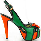 Ladies Green Orange Black Patent Bow Slingback Platform High Heels Party Shoes