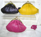 LADIES SMALL MUSTARD YELLOW  PINK  & PURPLE COIN PURSE GOLD CLASP 72217