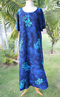 NWT PLUS SIZE Hawaiian Floral Short Sleeve Long Dress ~ BLUE HIBISCUS YF #603