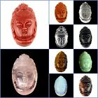 """Carved Vivid Kwan-yin Face Gemsone Pendant Beads 1.6"""" DIY Accessory for Necklace"""