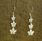 Hawaiian Pair 925 Sterling Silver Triple Plumeria Flowers Dangle Link Earrings