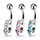 Interchangeable Navel Ring Charm Holder With Gems 14GA