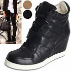 women velcro strap sneakers high top wedge sneakers ankle shoes  brown black