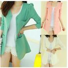 Women Candy Color One Button Suit Blazer Turn Back Cuff Jacket Padded Long Tops