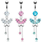 Prong Set CZ Butterfly Navel Belly Ring