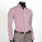 [Wine & White] Premium Slim Fit Mens Stripe Dress Shirts US size S M L (SL-05)