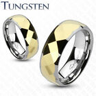 Tungsten Carbide Multi Faceted Gold IP Center Band Ring